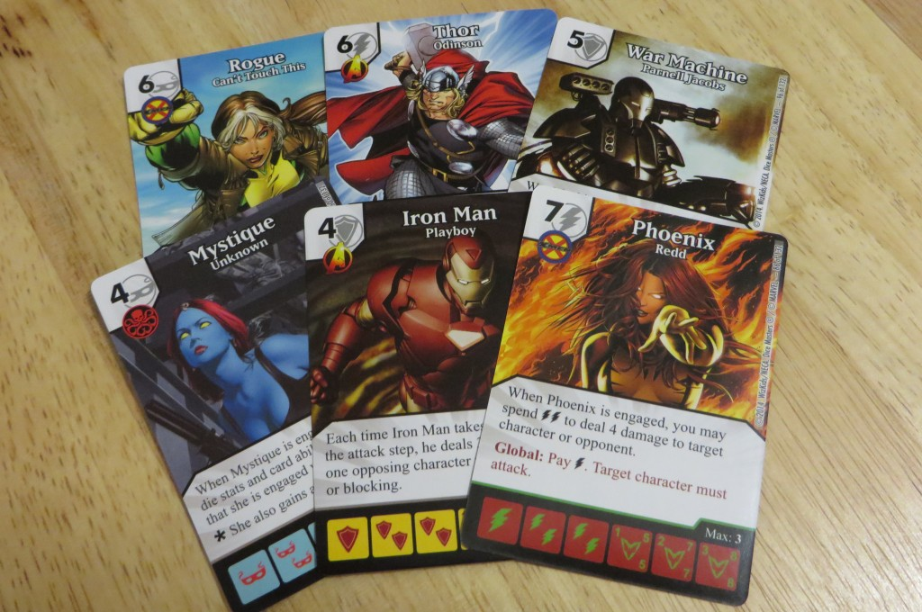 Assorted character cards from Marvel Dice Masters by WizKids