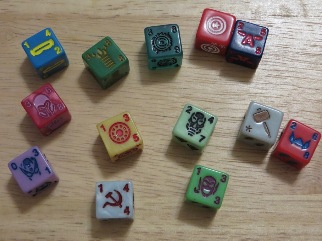 Assorted character dice from Marvel Dice Masters by WizKids