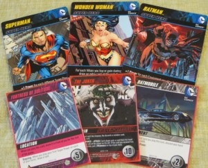 Superheroes and assorted cards from the DC Deckbuilding Game