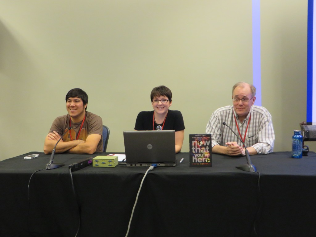"Sean ""Cheeks"" Galloway, Amy K. Nichols, and Brian Augustyn at Phoenix Comicon Fan Fest 2014"
