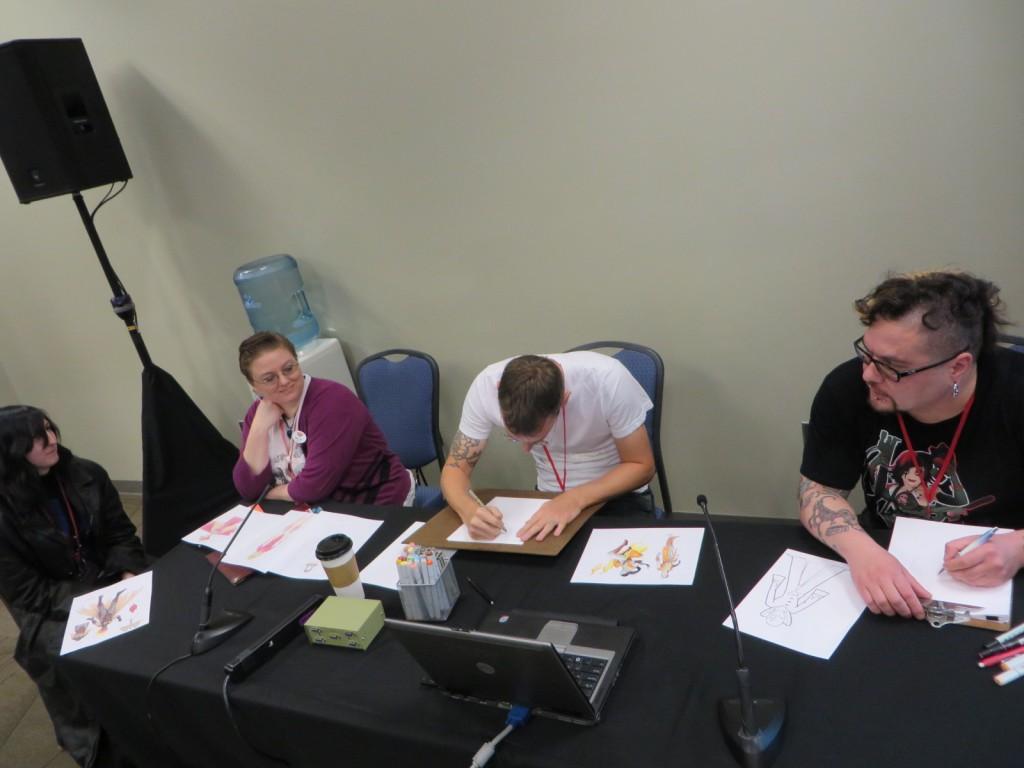 Heather L Martin, Kelley Lester, Jason Pedersen, and John Chihak at work