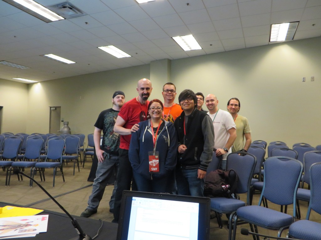 Franchesco (in red) asks for a picture with the attendees of his panel
