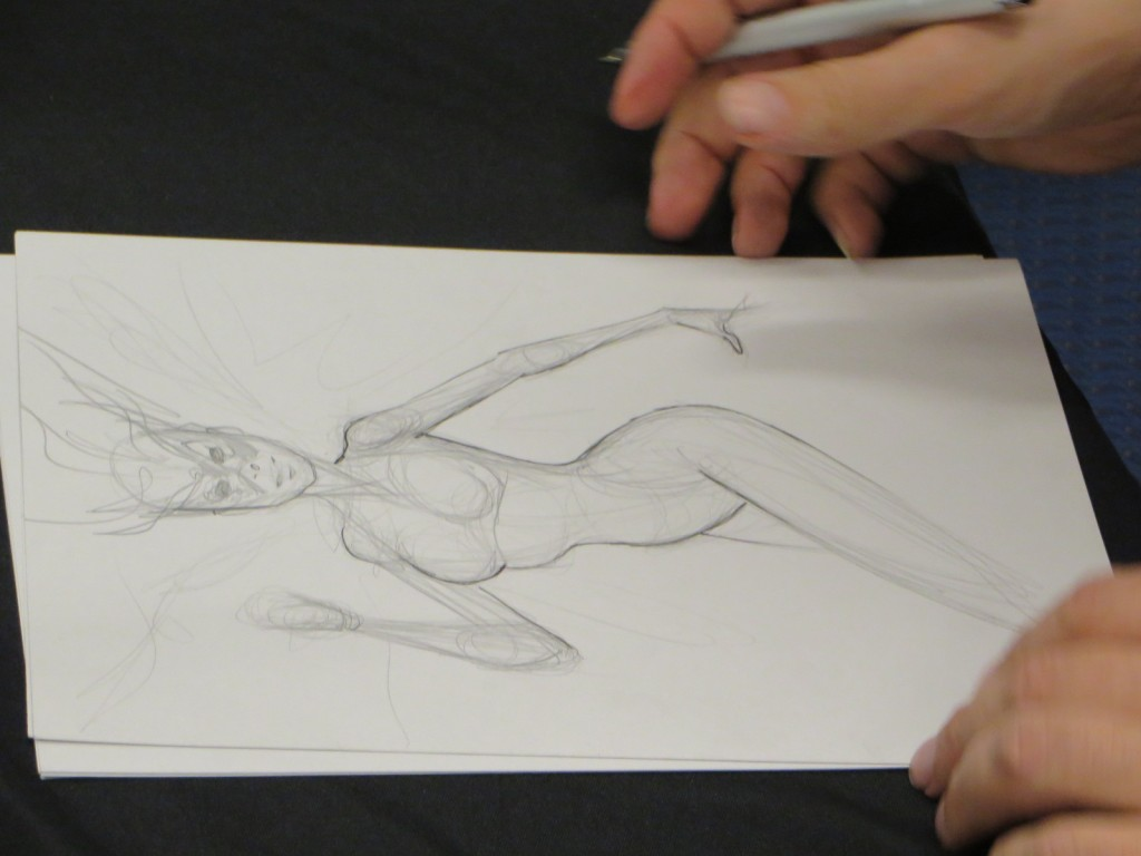 Franchesco works on his initial cover art sketch for Blaze